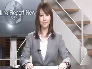 bukkake Real Japanese news reader two japanese