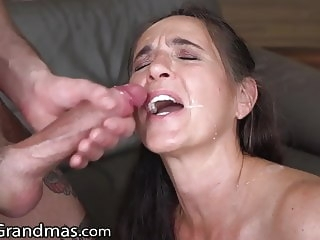 cumshot LustyGrandmas GILF Gets Facial from Young Studs Cock hardcore