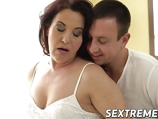 blowjob Curvy redhead granny takes throbbing young cock balls deep cumshot
